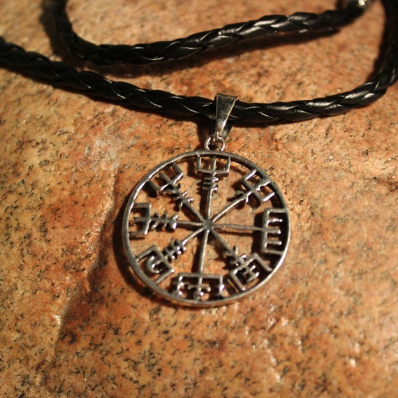 "Viking Vegvisir Compass Pendant Necklace Symbol of Norse Runic Necklaces Valknut Viking Pendant Necklace 10.3 Grams 24"" Mens Viking Pendants"