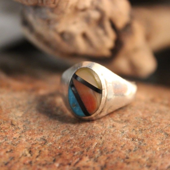 Navajo Zuni Native American Silver Ring Weight 5.8 grams Size 7 Mens Rings Turquoise Coral MOP  Inlay Sterling Silver Ring  Native American
