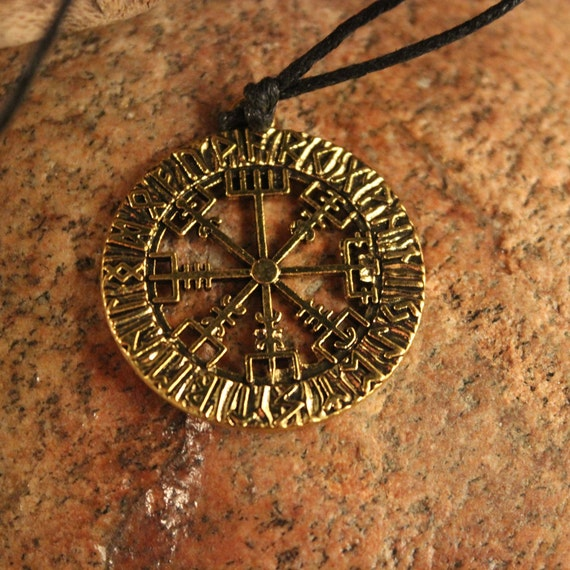 Viking Vegvisir Compass Pendant Necklace Symbol of Norse Runic Necklaces Valknut Viking Pendant Necklace 10.3 Grams  Mens Viking Pendants