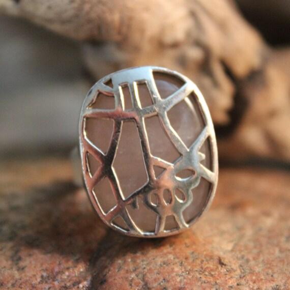 Vintage Sterling Silver Rose Quartz Ring Vintage Ring Size 7 Vintage Silver Rings 15 Grams Womans Vintage Silver Ring Unisex Silver Rings