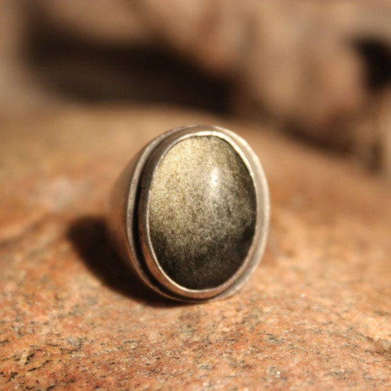Sterling Mexico Large Green Tigers Eye Mens Ring Heavy 12.6 Grams Size 6.5 Vintage Mens Rings Vintage Ring Mexican Vintage Ring Mens Rings