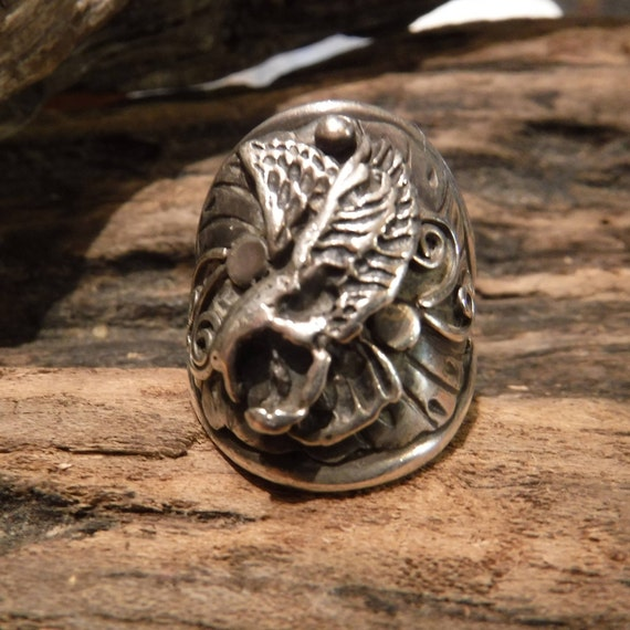 Mens Ring Vintage Navajo Eagle Ring Heavy 14 Grams Size 10.5 Signed Percy Native American Navajo Eagle Ring Sterling Silver Mens Rings 925