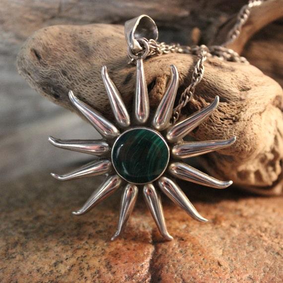 Sun Pendant & Necklace Vintage Mexico Sterling Heavy 28.3 Grams Large Silver Sterling Sun Necklace Pendant Silver Aztec Mayan Sun Calendar