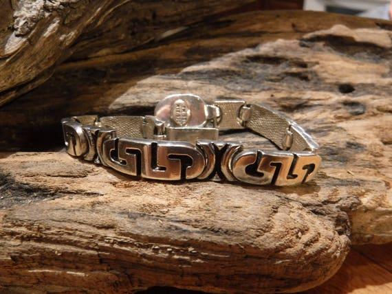 "Vintage Sterling Silver Bracelet 6.5"" Mexico  Heavy 35.2 Grams Sterling Silver Mexico Stamped Signed Bracelet Vintage Silver Mexico Bracelet"