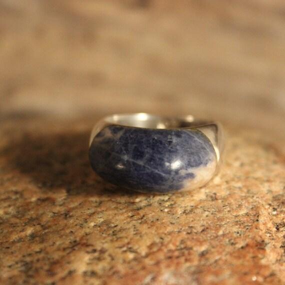Large Vintage Sterling Silver Blue Lapis Mens Ring 8.9 Grams Size 8.5 Signed Vintage Mens rings Blue Lapis Vintage Ring Mens silver rings