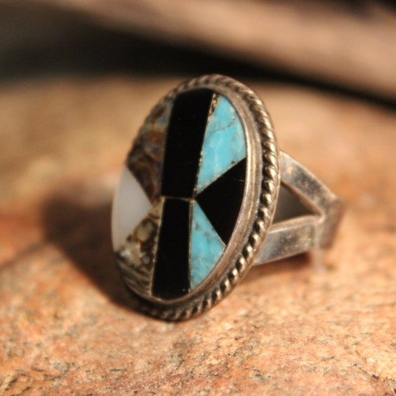 Large Vintage Sterling Silver Ring Mens Vintage Rings 10.1 Grams Size 10 Vintage Inlay Mexican Silver Vintage Ring Mens Mexico Silver Rings