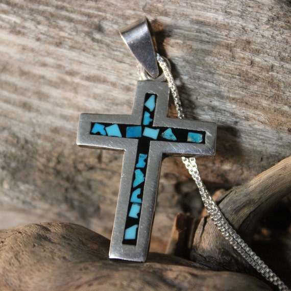 """Vintage Sterling Turquoise Cross Pendant Vintage Mexico 14.5 Grams 20"""" Silver Crucifix Turquoise Cross Necklace Vintage Turquoise Pendants"""