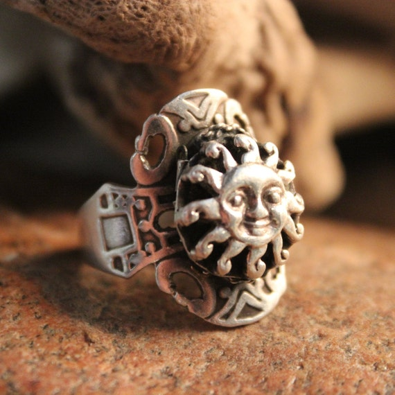 Large Mens Sterling Silver Sun Ring Mexican Silver Sun Ring 8 Grams Size 9 Adjustable Sun Ring  Mexican Sun Rings Vintage Mexico Poison Ring