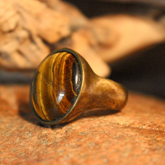 Tigers Eye Ring Mexico Large Brass Tigers Eye Ring 13 Grams Size 8.5 1930s Vintage Brass Ring Mexican Mens Rings Vintage Ring Mens Rings