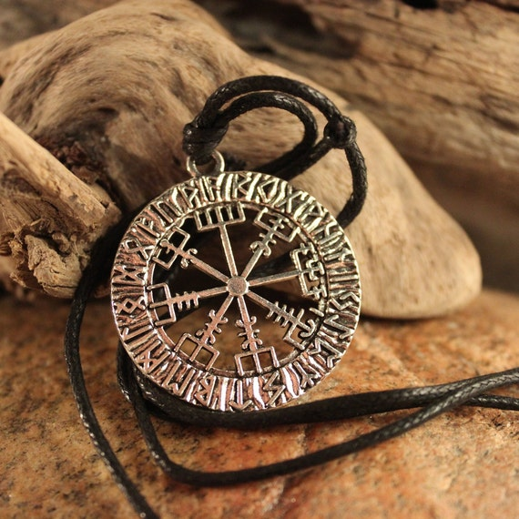 Viking Vegvisir Compass Pendant Necklace Symbol of Norse Runic Necklaces Valknut Viking Pendant Necklace 10.3 Grams  Mens Viking Pendants