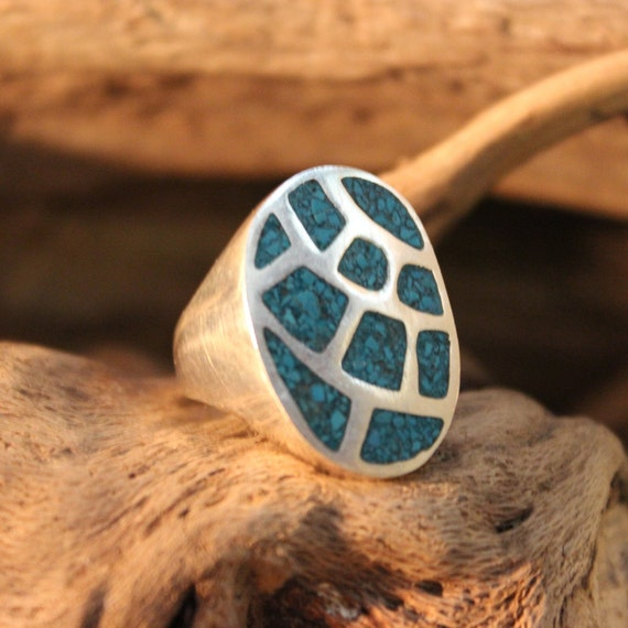 Sterling Mexico Large Turquoise Inlay Ring Mens Ring 11.5 Grams Size 8 Mens Silver Rings Vintage Mens Rings Mexican Vintage Ring Mens Rings