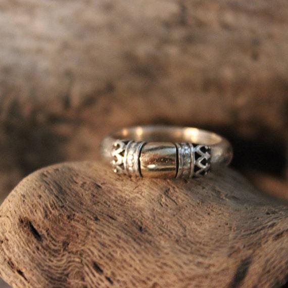 Vintage 14K Gold & Silver Ring 4.1 Grams Elgin Tom Native American Size 5 14K Sterling Ring Signed Vintage 14K Yellow Gold Ring Vintage