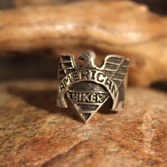 American Biker Ring Sterling Silver Biker Ring Size 9 American Eagle Mens Ring 11.3 Grams Sterling Biker ring Vintage Silver Mens Biker Ring