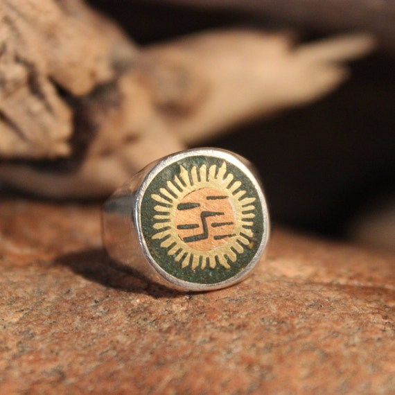 Mens Sterling Silver Sun Ring Mexican Silver Sun Ring 8.3 Grams Size 8.5 Sun Ring  Mexican Silver rings Vintage Mexico Silver Inley Sun Ring