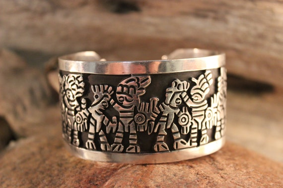 "Vintage Original Los Ballesteros 925 Sterling Silver "" Story Teller "" Heavy Cuff Bracelet 97 Grams Vintage Sterling Mexico Bracelet Sterling"
