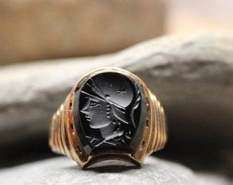 1950's Vintage Mens 10K Gold Soldier Ring 5.3 Grams Size 11.5 Vintage Mens 10K Yellow Gold Ring Roman Ring Mens Intaglio Ring Mens Gold Ring