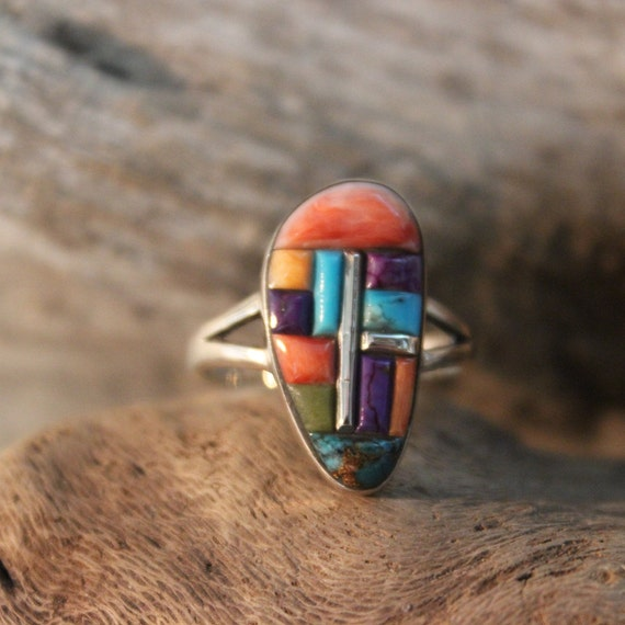 Large Vintage Sterling Silver Inlay Ring Size 8 Weight 4.1 Grams Turquoise Ring Sterling Silver Turquoise Rings Vintage Mens Rings Vintage