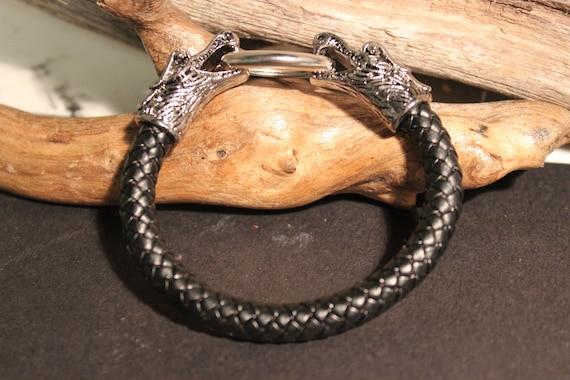 Viking Silver Wolf Bracelet Viking Norse Cuff Bracelet Norse Silver Viking Wolf Head Bracelet 40.4 Grams Viking Jewelry Norse cuff Bracelet