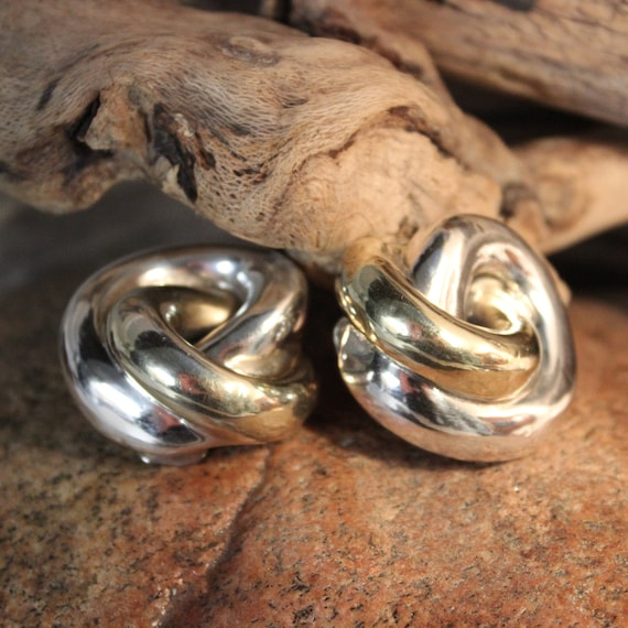 Large Vintage Contemporary Knot Earrings Sterling Silver Chunky Silver Earrings 28.5 Grams Large Silver Earrings 14K Chunky Vintage Earrings