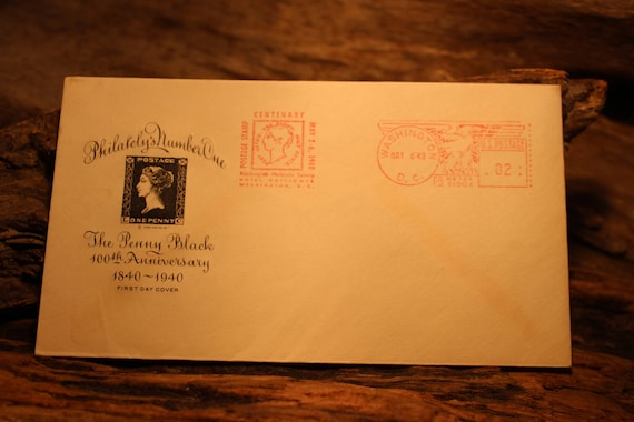 Vintage 1940 Penny Black 100th Anniversary First Day Cover Issue Penny Black Vintage Penny Black Vintage British Stamps Vintage Post Stamps