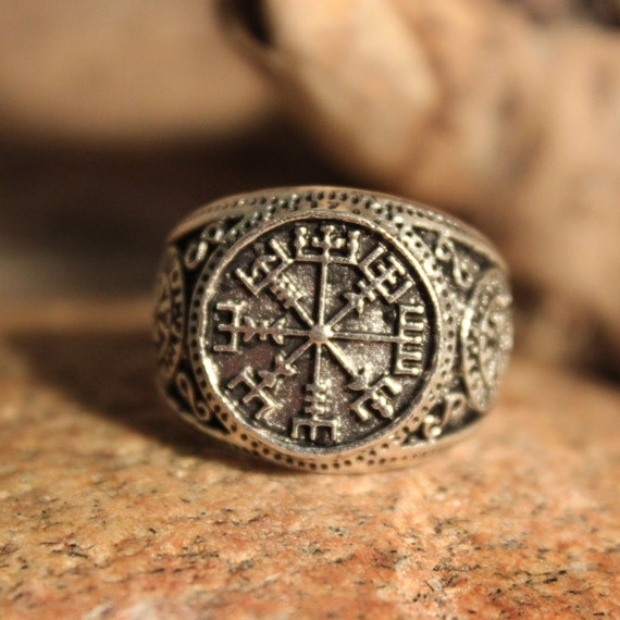 Large Mens Rustic Viking Vegvisir Compass Ring Size 10.5 Runic Compass Ring 11.7 Grams Mens Viking Ring Viking Rings Mens Viking Norse Rings