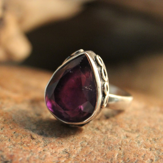 Large Vintage Amethyst Silver Ring Size 7.5 Weight 8.6 Grams Large Vintage Rings Mens vintage Rings  Vintage Womans  Silver Amethyst Ring