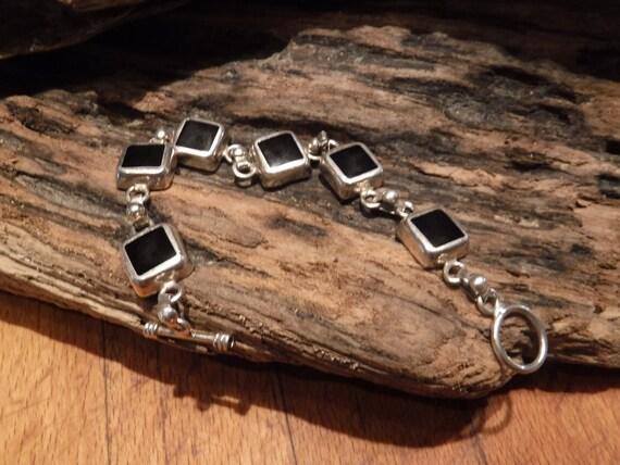 """Vintage Silver Bracelet Heavy Sterling  925 Hallmarked  Black Onyx Bracelet 30.3 grams 7 """" Sterling Silver 925 Black Onyx Panel Bracelet"""