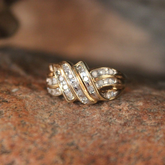 Diamond Ring 10K Solid Yellow Gold  Diamond Ring 4