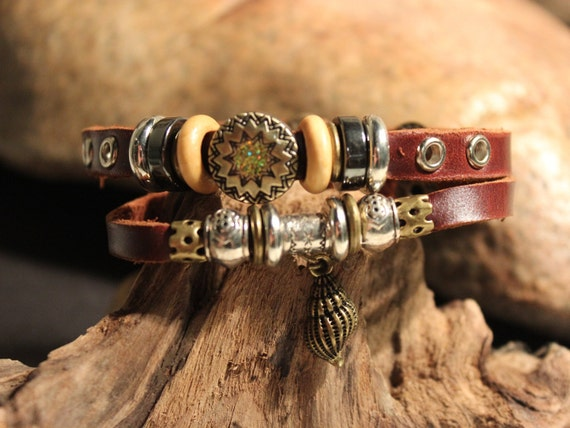 Hippy Leather Bracelet Surfers Bracelet Tribal Leather Bracelet Adjustable African Beach Leather Adjustable Bracelets Friendship Bracelet