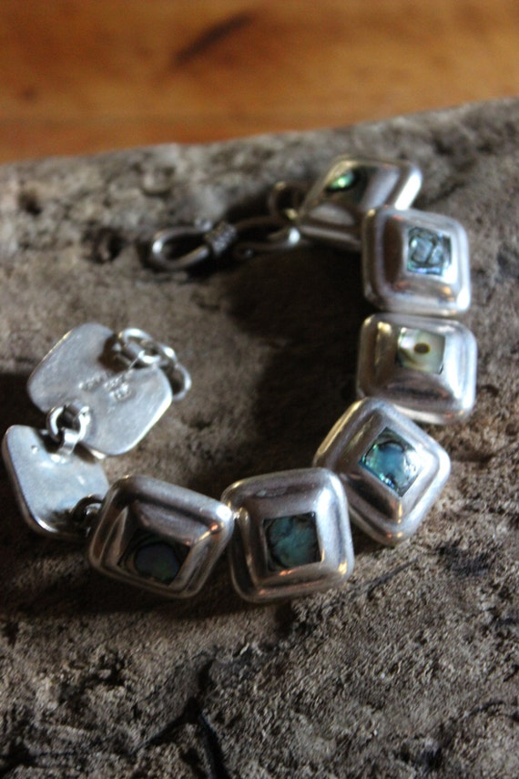"""Vintage  Sterling Silver Mexico Panel Abalone Shell Bracelet  7. 1;2"""" Long 3/4"""" Wide Heavy 34.1 grams Sterling Mexico, Hecho en Taxco silver"""