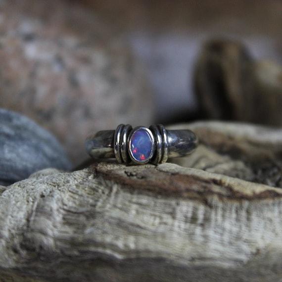 Vintage Sterling Silver Natural Black Opal Ring Vi