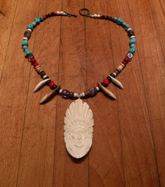 "Wolf Tooth Necklace 21"" Native Indian Pendant Carved Bone Necklace Native American Large Indian Head Pendant  Carved Pendant Spiritual"