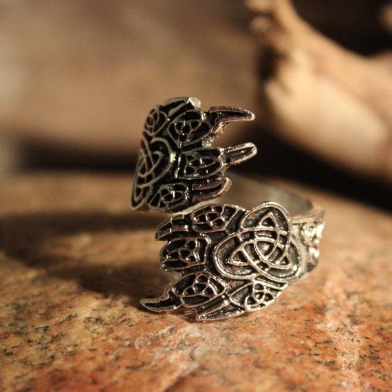 Norse Viking Vikinger Celtic Claw Ring Odin's Valknut Rings Odin Viking Ring Size Adjustable 6.4 Grams Mens Viking Rings Mens Norse Rings