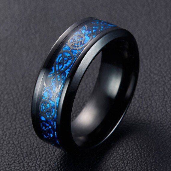 Mens Rings Wedding Band 8mm Blue Celtic Viking Dragon Ring Size 7,8,9,10 Tungsten Carbide Promise Ring Mens Bands Jewelry Black Dragon Ring