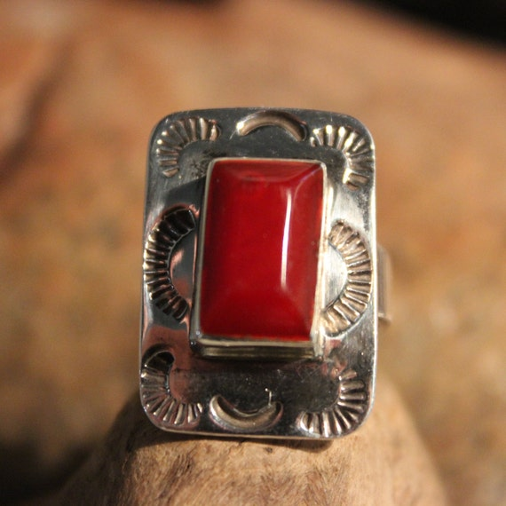 Large Silver Coral Ring Sterling Silver Ring 12.8