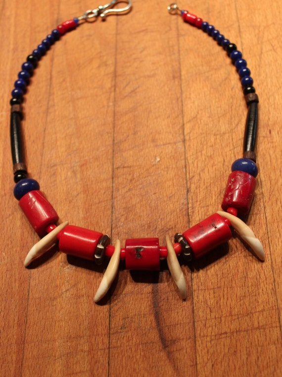 """Wolf Tooth Necklace 20.5"""" Large Wolf Teeth Large Coral Jade Black Agate Wood  Native American Tribal Wolf Necklace Wolf Pendant Wolf Tooth"""