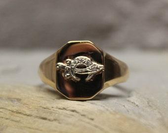 1990's Vintage Mens 10K Solid Gold Masonic Ring Gold Platinum Diamond Shriners Ring Solid Gold Mens Ring 6.4 Grams Size 11 Shriner Ring Mens