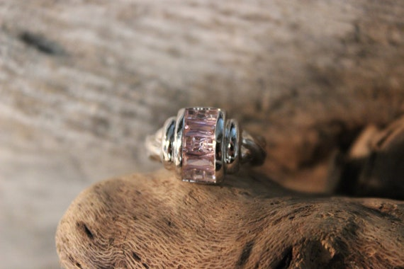 Vintage Sterling Silver Ring Channel Set Baguette Pink Spinels Size 6 Vintage Ring 6.2 Grams Multi Stone Sterling Silver Ring Vintage Silver