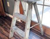 Vintage Wooden Step Ladder Gray Chippy Paint Rusty Plant Stand Farmhouse End Table Display Ladder Bedroom Side Table
