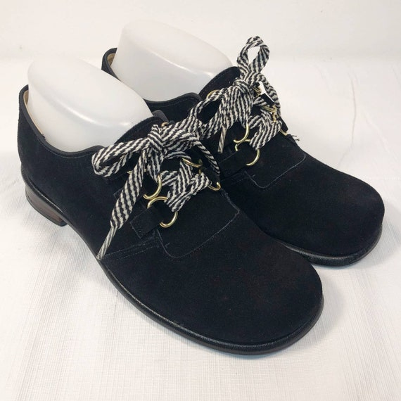 1970s Black Suede Leather Oxfords Womens 6 WIDE Vi
