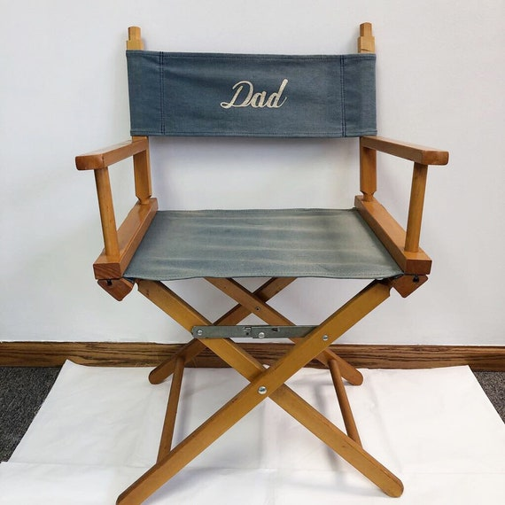 Superb Dad Directors Chair Wooden Blue Canvas Folding Commander Chair Vintage Seat Camping Chair Folding Portable Blue Director Seat Fathers Day Squirreltailoven Fun Painted Chair Ideas Images Squirreltailovenorg