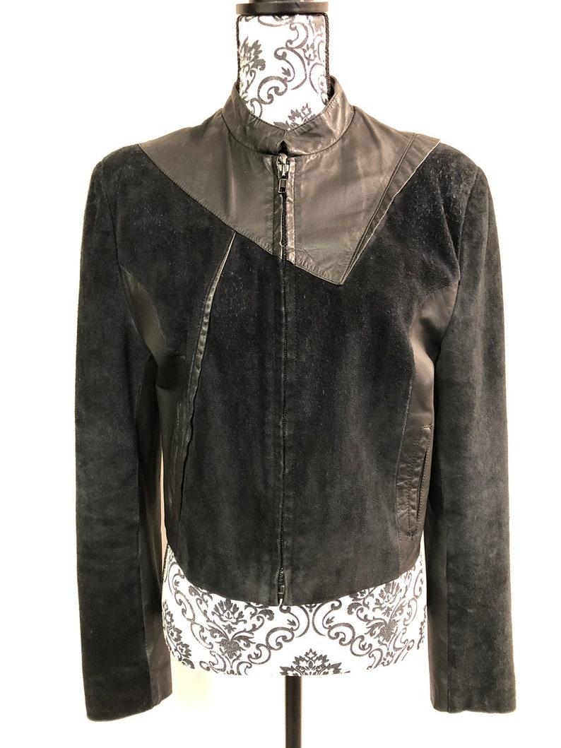 8796d86a6070 Vintage Women's Black Leather Jacket Medium 8-10 | Etsy