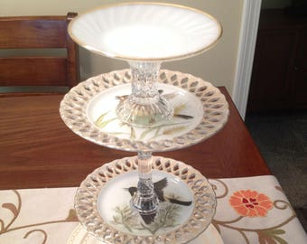 Birds of a Feather 4-tiered Pedestal Dish, Appetizer Dish