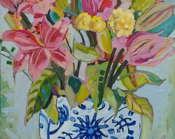 Large oil painting original/ in a vintage frame/ flowers in a ginger jar/ upcycled gold wood frame