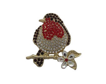 Crystal Robin Brooch Robin Redbreast Brooch Christmas Bird Brooch Broach Gift Boxed