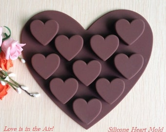 Silicone Heart Mold - Chocolate, Baking, Muffin, Ice Cube or Jelly Mould - Valentines Day
