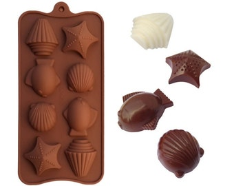 Sea Shell, Starfish & Fish Chocolate Mold - Create beautiful ocean theme chocolates, jelllies, ice or mini soaps
