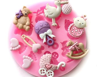 Baby Theme Fondant Cake Icing Mold - Create beautiful baby shower themed icing decorations