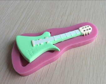 Guitar Icing Fondant Mold - Create Guitar Cake Decorations or Guitar Shaped Chocolates or Soaps
