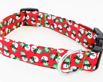 Red snowman collar, snowman dog collar, Red christmas dog collar, winter cat collar, holiday collar